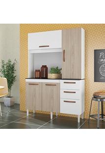 Armário De Cozinha 4 Portas 3 Gavetas Noz Albatroz Móveis Branco/Teka