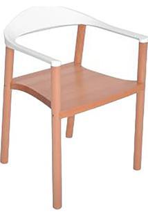 Cadeira Wood- Madeira & Branca- 77X55X48Cm- Falkfalkk