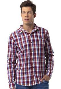 Camisa Xadrez Long Island Bd - Masculino-Vermelho Escuro