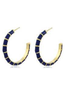 Brinco Viva Jolie Argola Grande Colors Azul Marinho Banho Em Ouro