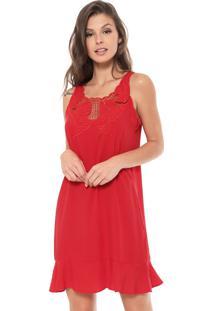 Vestido Enfim Curto Bordado Vermelho