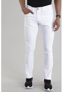Calça Slim Em Algodão + Sustentável Branca