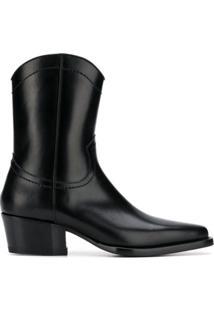 Dsquared2 Ankle Boot Western De Couro - Preto