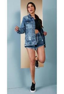 Maxi Jaqueta Jeans Zait Alicia - Feminino-Azul