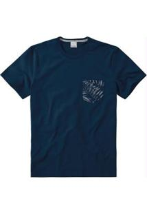 Camiseta Azul Escuro Slim Com Bolso Malwee