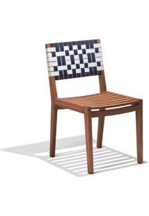 Cadeira Para Jardim Madeira Maciça Salinas Siena Móveis Polisten Nogueira Com Percinta Branco/Azul Marinho