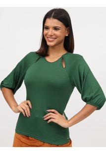 Blusa Com Vazado & Amarraã§Ã£O- Verde- Tritontriton
