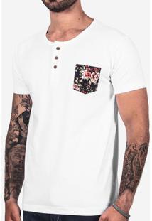 Camiseta Henley Branca Bolso Floral 101949