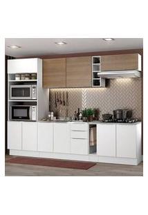 Cozinha Completa Madesa Stella 290001 Com Armário E Balcão Branco/Rustic Branco/Branco/Rustic