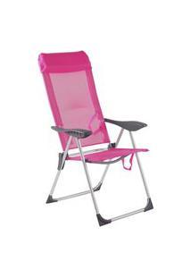 Cadeira De Praia Piscina Alumínio 5 Posições Bel - Azul Rosa