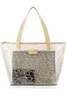 9b0f45b18 ... Bolsa Jack Design Shopper Transparente - Feminino-Bege
