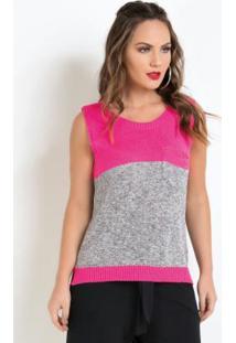 Blusa Em Tricot Com Bolso Rosa