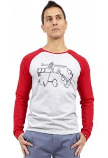Camiseta Kahú Raglan Kombi Vermelha E Mescla