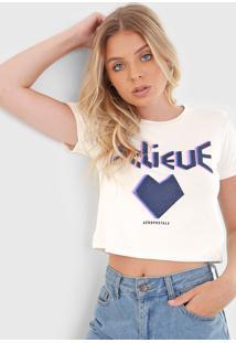 Camiseta Cropped Aeropostale Believe Off-White