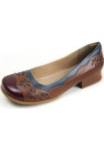 Sapato Gasparini Estilo Boneca Vinho/Chocolate/Azul