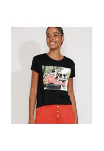 Camiseta Feminina Manga Curta Mickey E Minnie Decote Redondo Preta