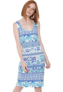 Vestido Desigual Curto Luana Off-White/Azul