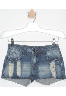 Short Jeans Estonada Com Destroyed - Azul Escuro - Mmandi