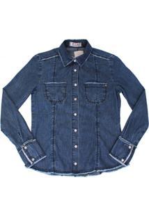 Camisa Jeans Com Desfiados Azul - Feminino