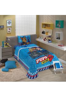 Edredom Solteiro Infantil Lepper Patrulha Canina 1 Peça Azul