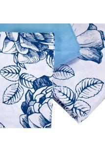 Jogo De Cama King Teka Diamante Juliete Listrado Azul Floral 4 Peças