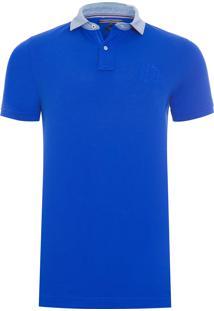 Polo Masculina Denim Collar - Azul