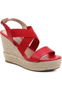 Sandália Plataforma Shoestock Elástico Corda Feminina - Feminino-Vermelho