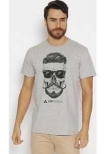 Camiseta Caveira - Cinza Claro & Pretavip Reserva