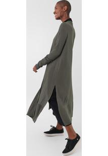 Maxi Cardigan Dress To Canelado Verde - Verde - Feminino - Viscose - Dafiti