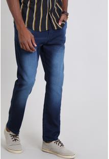 Calça Jeans Masculina Jogger Com Bolsos Azul Escuro