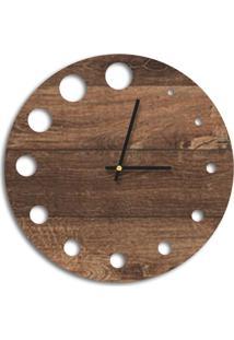 Relógio De Parede Decorativo Premium Madeira Ripada Com Detalhes Vazado Médio