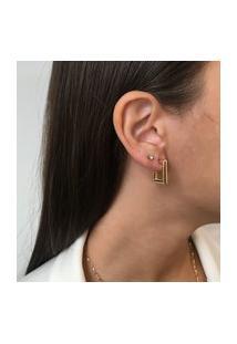 Brinco Argola Lisa Retangular Pequena Dourado