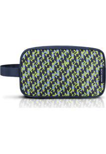 Nécessaire G Geométrica- Azul Escuro & Verde Limão- Jacki Design
