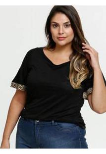 Blusa Feminina Recorte Animal Print Plus Size