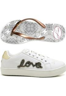 Kit Tênis Love Top Franca Shoes + Chinelo Top Franca Shoes Feminino - Feminino-Branco