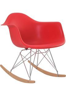 Cadeira Eiffel C/Braço Pp Vermelho Base Balanco Rivatti
