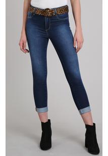 ba8fe7481 Calça Jeans Feminina Sawary Cropped Com Cinto Animal Print Azul Escuro