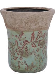 Vaso Azul Claro C/ Flores Marrons E Detalhe Em Alto Relevo