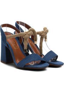 Sandália Zatz Salto Grosso Amarração Feminina - Feminino-Jeans