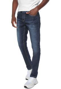 Calça Jeans Rock Blue Reta Estonada Azul