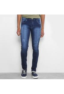 Calça Jeans Slim Fit Coffee Estonada Masculina - Masculino-Azul Escuro