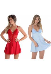 Kit 02 Peças Camisola Rendada Sem Bojo Azul E Vermelha Diário Íntimo - Tricae