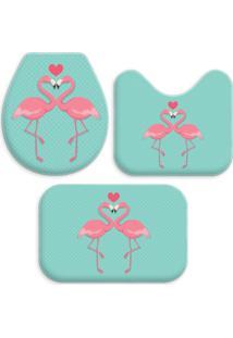 Jogo Tapetes Para Banheiro Wevans Flamingos One Turquesa - Kanui