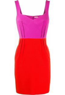 Emilia Wickstead Vestido Color Block - Roxo