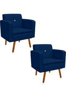 Kit 02 Poltrona Decorativa Emília Suede Azul Marinho Com Strass - D'Rossi