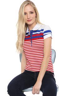 Camisa Polo Aleatory Listrada Branca/Vermelha