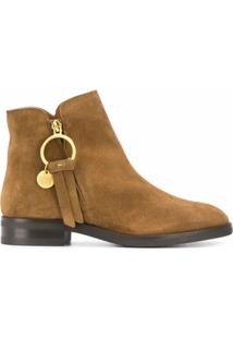 See By Chloé Ankle Boot Louise Com Logo - Marrom