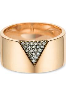 Anel Ouro Rosé E Diamantes Brown