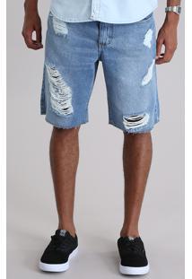Bermuda Jeans Reta Destroyed Azul Claro