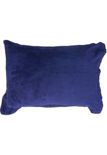 Porta Travesseiro 50X70Cm Fleece Andreza Azul Marinho
